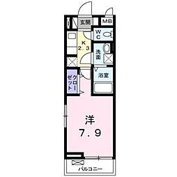 JR豊肥本線 南熊本駅 徒歩12分の賃貸アパート 3階1Kの間取り