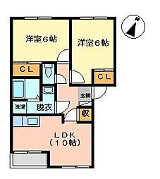 リバティ2[2階]の間取り