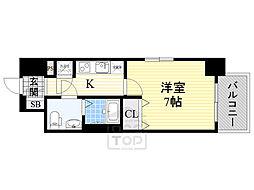 レジュールアッシュ大阪城ノルド 4階1Kの間取り