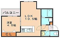 リテラ吉塚東 3階1LDKの間取り