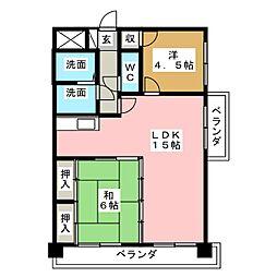 扶桑ハイツI[5階]の間取り