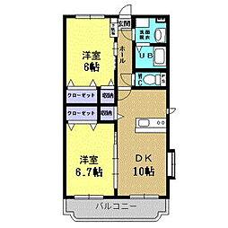 岡山県総社市中央の賃貸アパートの間取り