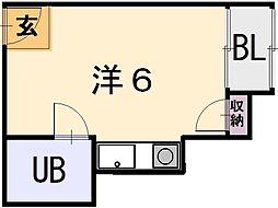 大阪府八尾市本町5丁目の賃貸マンションの間取り