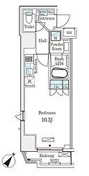 都営新宿線 岩本町駅 徒歩6分の賃貸マンション 7階ワンルームの間取り