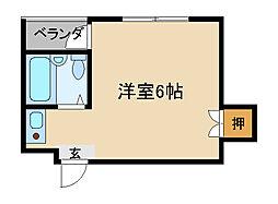 Osaka Metro谷町線 守口駅 徒歩7分の賃貸マンション 4階ワンルームの間取り