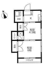 第2浜田荘[201号室]の間取り