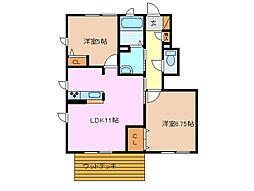 エストマーレB棟[1階]の間取り