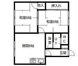 北海道札幌市南区真駒内本町5丁目の賃貸アパートの間取り