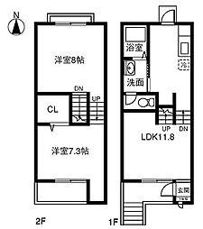 [テラスハウス] 愛知県小牧市大字岩崎 の賃貸【/】の間取り