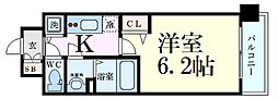 プレサンス新大阪クロステージ 2階1Kの間取り