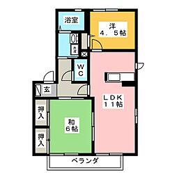 パーシモンツリーA[1階]の間取り