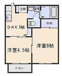 ハイツサンフラウァB[2階]の間取り