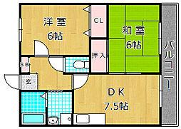 大阪府枚方市堤町の賃貸アパートの間取り