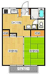 小野ハイツ2号棟[1階]の間取り