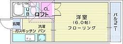仙台市地下鉄東西線 八木山動物公園駅 徒歩4分の賃貸アパート 2階1Kの間取り
