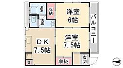 第一マンション[2A号室]の間取り