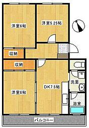 原マンション[4階]の間取り