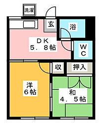 コスモAoi上土棚[203号室]の間取り