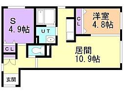 CITY RESIDENCE 幌平橋 2階1SLDKの間取り