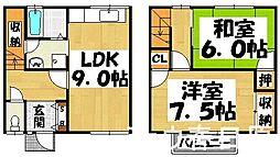 福岡県大野城市仲畑1丁目の賃貸アパートの間取り