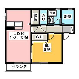 静岡県静岡市葵区建穂2丁目の賃貸アパートの間取り