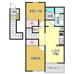 サニーコーポSO[2階]の間取り
