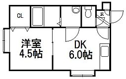 北海道札幌市西区発寒七条11丁目の賃貸アパートの間取り