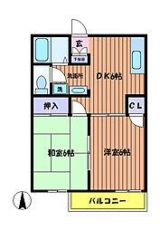 東京都日野市大坂上2丁目の賃貸アパートの間取り