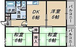 上津島スカイハイツ[101号室]の間取り
