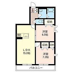 埼玉県さいたま市浦和区大東2丁目の賃貸アパートの間取り