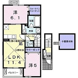 岡山県岡山市南区万倍の賃貸アパートの間取り
