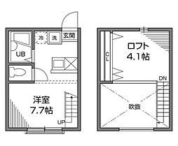 東京都渋谷区恵比寿3丁目の賃貸アパートの間取り
