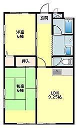 愛知県岡崎市竜美旭町の賃貸アパートの間取り