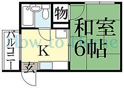 京都府京都市左京区修学院水川原町の賃貸アパートの間取り