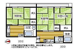 埼玉県ふじみ野市福岡中央2丁目の賃貸アパートの間取り