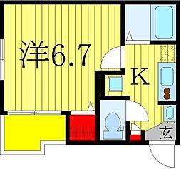 仮)柏市旭町新築計画 3階1Kの間取り