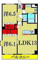 埼玉県越谷市千間台西5丁目の賃貸マンションの間取り