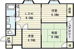 ゴッドフィールドII[6階]の間取り