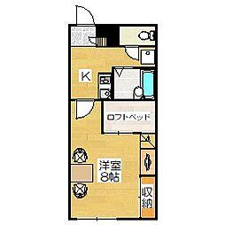 レオパレスJYURAKUII[206号室]の間取り