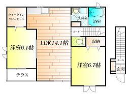大阪府羽曳野市河原城の賃貸アパートの間取り