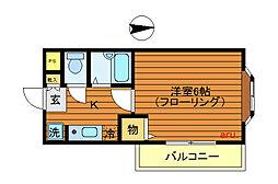 東京都武蔵野市御殿山1丁目の賃貸アパートの間取り
