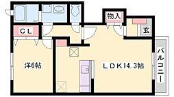 兵庫県加古郡播磨町古田2丁目の賃貸アパートの間取り