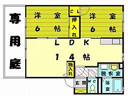 クレール津屋崎B[1階]の間取り