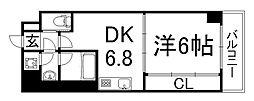 京都府京都市下京区御影堂町の賃貸マンションの間取り