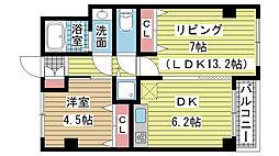 兵庫県神戸市垂水区霞ヶ丘7丁目の賃貸マンションの間取り