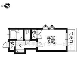 レオパレス東福寺[107号室]の間取り