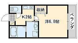 フローラ岡本B棟 1階1Kの間取り