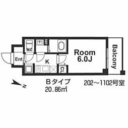 メインステージ京町堀 3階1Kの間取り