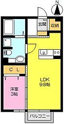 佐賀県佐賀市神園3丁目の賃貸アパートの間取り