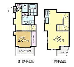 京王井の頭線 東松原駅 徒歩4分の賃貸アパート 1階1LDKの間取り